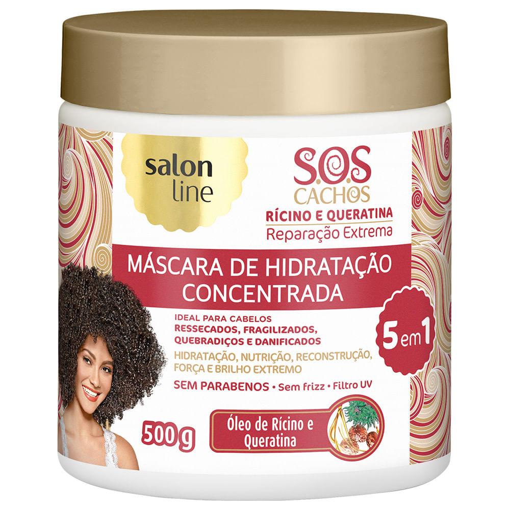 ab2ac72e0 Máscara Rícino e Queratina SOS Cachos Reparação Extrema 5 em 1 500g Salon  Line