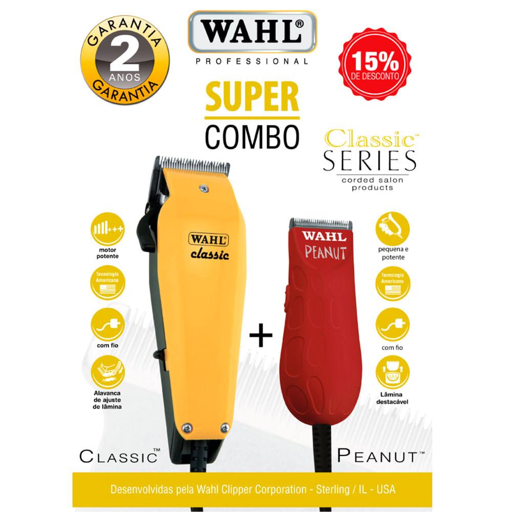 d04b0569a Kit Máquina de Corte Classic e Máquina de Acabamento Peanut 220V Wahl